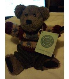 """Boyds Bears Freddy Beanberger 10"""" Gray with Heart Sweater Small Teddy#911901 NWT $15.00"""