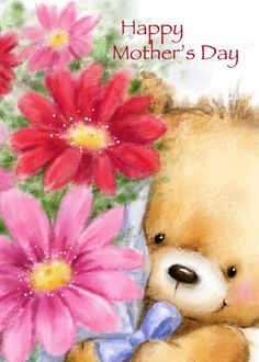 Cute bear holding a bunch of flowers for Mother's Day. Cards are shipped the Next Business Day. Mother Day Wishes, Happy Mothers Day, Beautiful Flowers Pictures, Cute Pictures, Teddy Bear Pictures, Mickey Mouse, Bear Illustration, Bear Wallpaper, Tatty Teddy