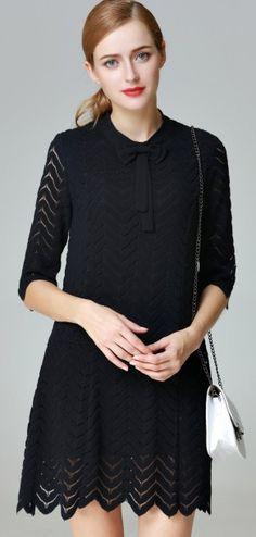 Elegant Black Ripple Lace Patchwork Bow Trim Hollow Sleeve A-Line Mini Dress