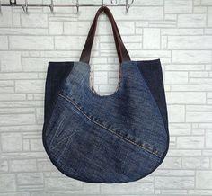 Denim tote bag handbag purse flowery recycled upsycled by BukiBuki