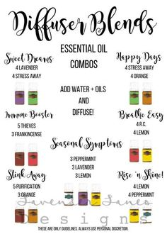 Essential Oil Diffuser Recipe Guide Young Living Essential by natalie-w Essential Oil Diffuser Blends, Doterra Essential Oils, Essential Oil Guide, Yl Oils, Organic Essential Oils, Young Living Oils, Young Living Essential Oils, Young Living Diffuser, Diffuser Recipes