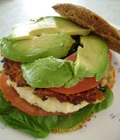 Turkey, spinach, avocado burger