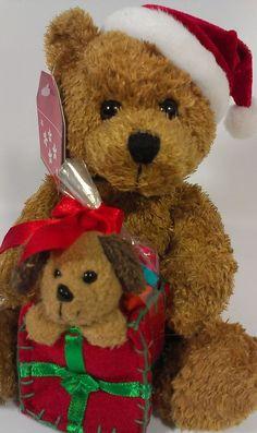 Galerie Teddy Bear & Puppy Dog Christmas Holiday Present Stuffed Plush Beanie  #Galerie