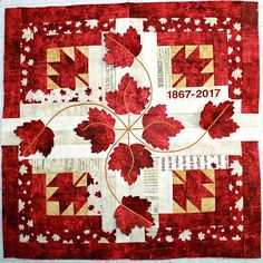 The second stop today is FibreChick. Bobbins loves the added embroidery on their block- absolutely . Flag Quilt, Quilt Blocks, Moose Quilt, Quilting Projects, Quilting Designs, Quilting Tips, Canadian Quilts, Quilts Canada, Red And White Quilts