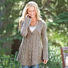 """Plump cables join to echo the v-neck of this cozy cardigan, further detailed with garter stitch panels and brushed metal buttons. Hand wash. Imported. Acrylic/wool. Sizes S (4 to 6), M (8 to 10), L (12). Approx. 29""""L."""
