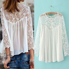 Women-Lady-Celeb-Summer-Chiffon-Lace-White-Loose-Short-Shirt-Blouse-Tops   COMPRAR ESTE