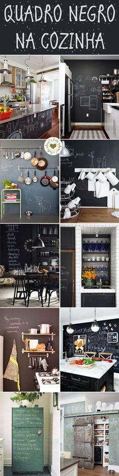 Quadro negro na cozinha