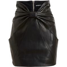 BALMAIN Bow Front Leather Skirt ($2,670) ❤ liked on Polyvore featuring skirts, long leather skirt, leather skirt, balmain, bow skirt and long skirts