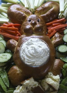 A little weird but maybe I like weird...bunny bread bowl for Easter.
