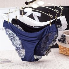 Women Lace Sexy Panties,Ultra-Thin Transparent Flower Embroidered