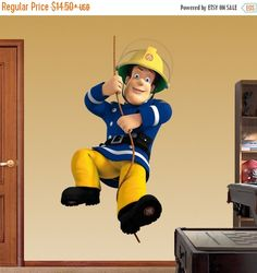 Fireman Sam 3d Wall Sticker Smashed Bedroom Kids Decor Vinyl Super Hero Art D