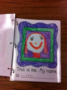 Beginning of the year class book with self-portrait and writing name documentation. Could use in first few weeks of workstations Kindergarten Names, Beginning Of Kindergarten, Kindergarten Language Arts, Kindergarten Classroom, Kindergarten Activities, Classroom Ideas, Preschool Books, Preschool Ideas, 1st Day Of School