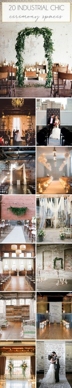 How to Style an Industrial Chic Wedding Ceremony   SouthBound Bride   http://www.southboundbride.com/industrial-chic-ceremony-spaces
