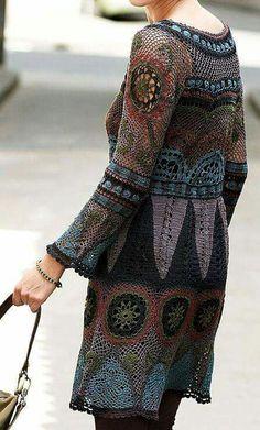 Beautiful crochet dress - with chart Freeform Crochet, Irish Crochet, Crochet Lace, Crochet Tunic, Crochet Russe, Crochet Woman, Beautiful Crochet, Crochet Clothes, Boho Fashion