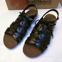 NIB Ruff Hewn sandals Beautiful lace up sandals in black.  Man-made materials. Uppers look and feel like gorgeous black leather. Ruff Hewn Shoes Sandals