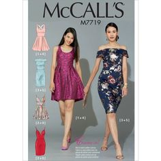 Misses Dresses McCalls Sewing Pattern 7719 from Sew Essential. Miss Dress, Dress Up, Clothing Patterns, Dress Patterns, Bra Pattern, Pattern Dress, Novelty Fabric, Mccalls Sewing Patterns, Straight Skirt