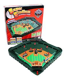 Super Stadium Baseball Game. Surprise your child with a brand-new game for your next game night. This International Playthings Baseball Board Game is suitable for children 6 years of age and up.