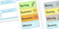A lovely calendar template, allowing your children to display the weather and season. Teaching Themes, Teaching Science, Season Calendar, Weather Calendar, Calendar Skills, Home Management Binder, Classroom Management, Weather Seasons, Behaviour Management