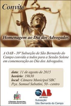 convite para comemoração do dia do advogado