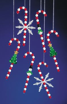 "Bead Kits - Holiday Beaded Ornament Kit - Festive Candy Canes 5"" Makes 12"
