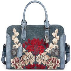 Alexander Mcqueen Padlock Small Denim Satchel Bag w/Floral Embroidery (4.350 BRL) ❤ liked on Polyvore featuring bags, handbags, purses, clutches, denim multi, denim handbags, man bag, skull purse, top handle satchel handbags and blue satchel handbags
