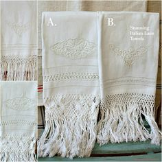 FrenchGardenHouse.com | Antique 19th Century Italian Bobbin Lace Show Towel with Knotted Fringes