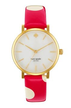 kate spade new york 'metro' polka dot strap watch available at #Nordstrom. kate spade + polka dots? Best thing ever!
