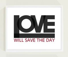 Black and White Love Typography Poster
