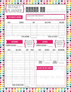 Budget Planner Bill and Expense Tracker List by ChicDesignsByJEM