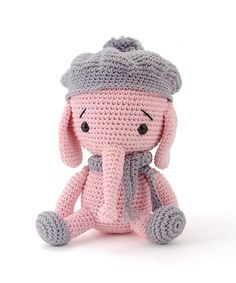Emily the elephant amigurumi pattern by Pepika Crochet Animal Patterns, Stuffed Animal Patterns, Amigurumi Patterns, Crochet Animals, Cute Crochet, Crochet Crafts, Crochet Dolls, Crochet Projects, Tier Zoo