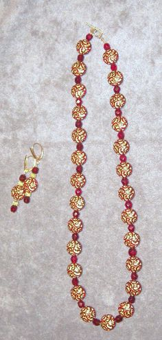 Vintage red crystal with deep red and gold Czech by maryjanebowen, $55.00