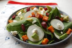 Sweet Potato, Cranberry and Goat Cheese Spinach Salad