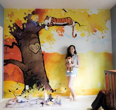 Calvin and Hobbes nursery mural I was commissioned to paint. Someone I know posted this on Reddit last night and it seems to have made the f...