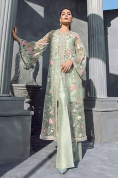 Mint Green Floral Beaded Long Jacket with Silk Inner & Boot Cut Pants, Elan Inspired Hand Embroidered Dress - Pakistani dresses Stylish Dress Designs, Stylish Dresses, Casual Dresses, Fashion Dresses, Long Jacket Dresses, Frock Fashion, Batik Fashion, Formal Dresses, Pakistani Dress Design