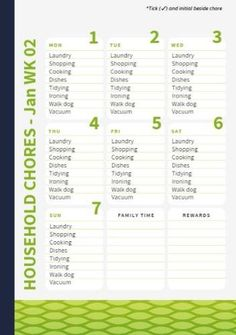 Lime green is an awesome color to keep track of your plans! Redesign it to your specific needs and organize your weeks. You can also create your own family calendar from scratch. Laundry Shop, Family Calendar, Dog Walking, Create Your Own, Organize, Vacuums, Lime, Track, Organization