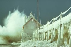 Lake Michigan's Grand Haven lighthouse totally frozen over and in a storm – can't beat this image.  The pillar of strength metaphor is easy to grasp: Haven't we all felt as if we were being pounded by big waves while still standing our ground?