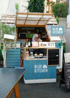 ideas for food truck design ideas mobiles coffee shop Food Stall Design, Food Truck Design, Food Design, Design Design, Graphic Design, Small Coffee Shop, Coffee Shop Design, Japanese Coffee Shop, Kiosk Design