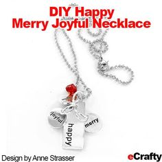 You cannot have a bad day once you are making (or wearing) one of these! Look what Anne whipped up recently with our Encouraging Words charms from eCrafty.com! DIY Easy Holiday Cheer Charms Necklace #diy #gifts #crafts #necklace #stamped #stampedmetal #stampedmetalcharms #stampedcharms #messagecharms #stampedmetalnecklace #diyjewelry #diycrafts #diychristmas #diygifts #gifts #red #silver #happy #merry #joyful #hohoho Jewelry Ideas, Diy Jewelry, Unique Jewelry, Metal Necklaces, Metal Jewelry, Christmas Diy, Holiday, Having A Bad Day, Diy Necklace