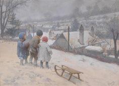 Wintertag: Dorfrand mit Kindern beim Rodeln von Karl Feiertag