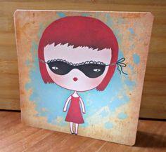 Carte double 'Le Bal' création originale fait main 15cm x 15cm : Cartes par card-bubble