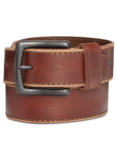 A cut edge and accent stitching add a rugged look to the rich leather of this Levi's belt. | Leather | Spot clean with a leather cleaner | Imported | Harness buckle | 38mm | Web ID:2608203