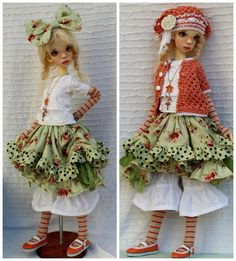 SAGE & CORAL OUTFIT + SHOES FOR LAYCEE SD KAYE WIGGS DOLLSTOWN ELF BY…