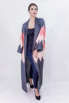 grey and pink abaya
