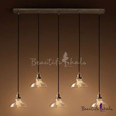 Industrial Bronze 5 Light Multi-Light Pendant With Clear Glass Shade