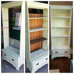 Repurposed gun cabinet before during and after transformation