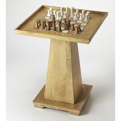 Enliven any room space with the modern style and marvelous utility of the Butler Loft Chess Table. Functional work of furniture art features a spacious top embellished with a checkerboard, so you can play chess or checkers. Loft Furniture, Find Furniture, Living Furniture, Game Room Tables, Table Games, Log Decor, Paint Games, Chess Table, Wood Pedestal
