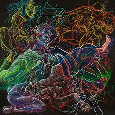 Fred Hatt - Darkness- aquarelle watercolor crayon