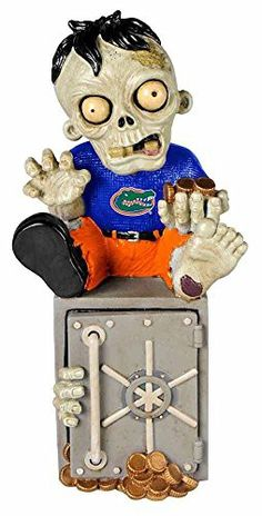 Florida Gators Official NCAA 14.5 inch x 9.5 inch Zombie Figurine Bank by Forever Collectibles 518947
