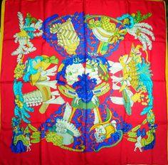 HERMES 'Chapeau!' Red  Silk scarf -