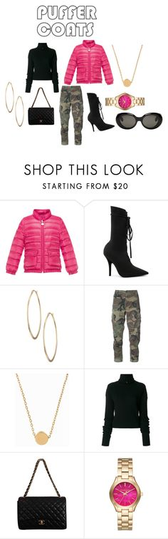 """""""PRETTY IN PINK"""" by briahrile ❤ liked on Polyvore featuring Moncler, Yeezy by Kanye West, Lydell NYC, RE/DONE, Minnie Grace, Aviù, Chanel, Michael Kors and Acne Studios"""
